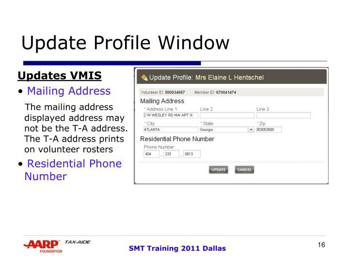 Update Profile Window