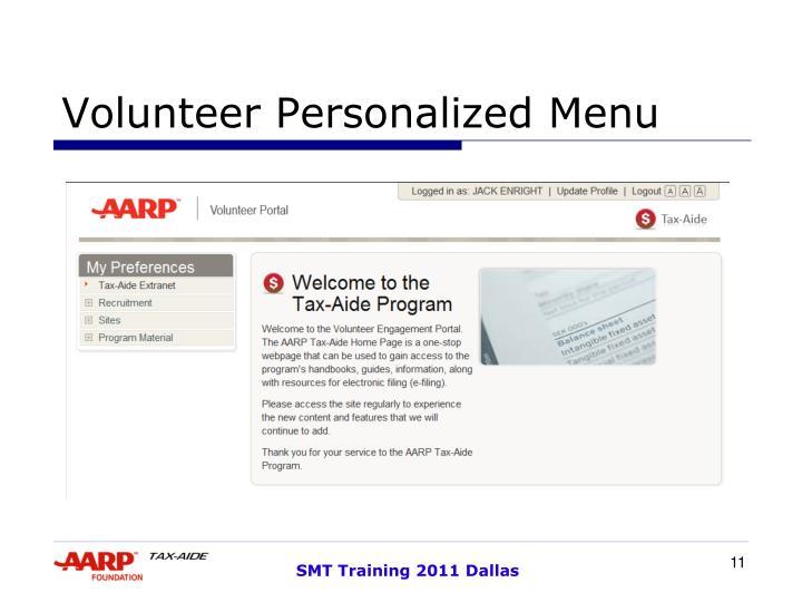 Volunteer Personalized Menu