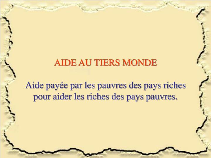 AIDE AU TIERS MONDE