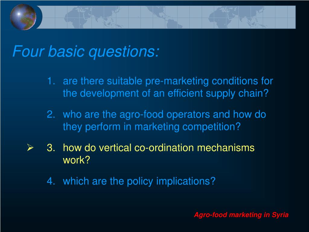 Four basic questions: