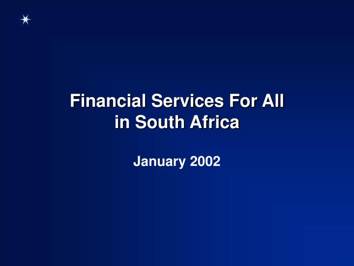 financial services for all in south africa n.