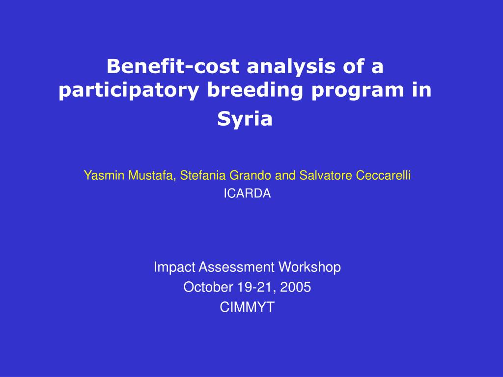 benefit cost analysis of a participatory breeding program in syria l.