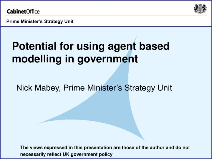 potential for using agent based modelling in government n.
