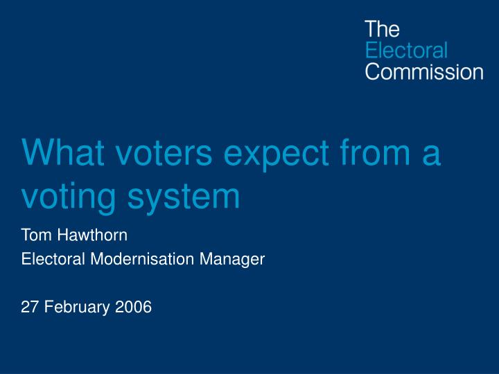 what voters expect from a voting system n.