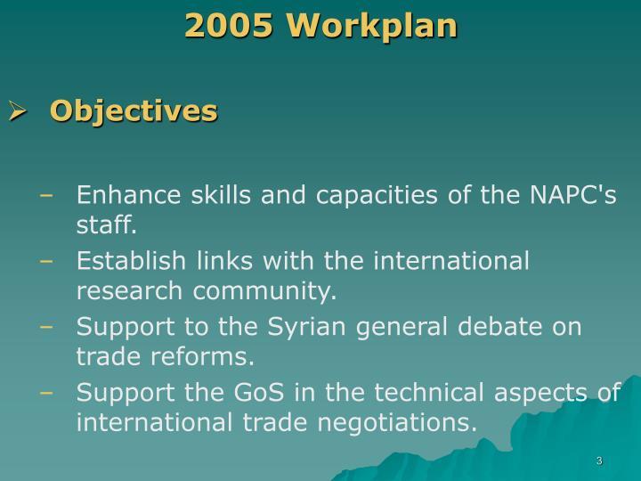 2005 workplan