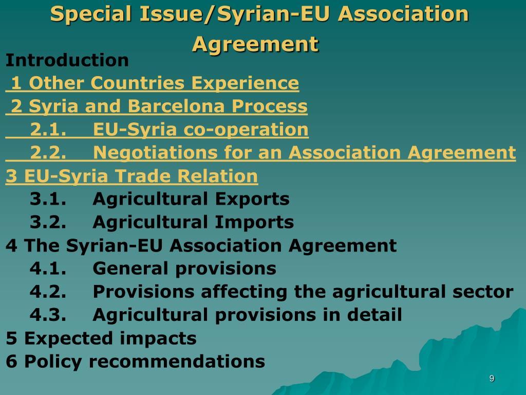 Special Issue/Syrian-EU Association Agreement