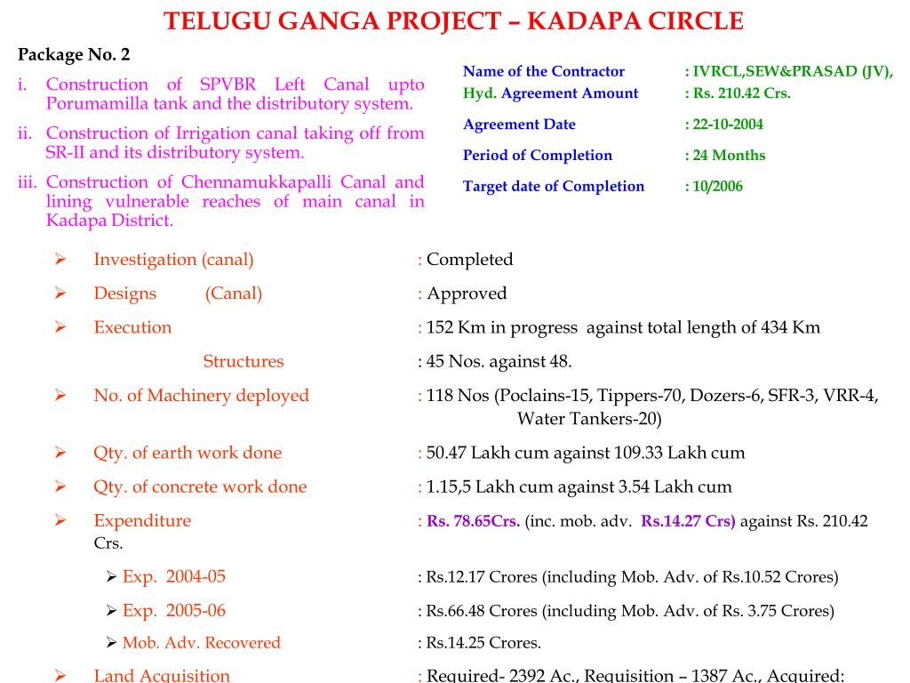 PPT - TELUGU GANGA PROJECT – NANDYAL CIRCLE PowerPoint Presentation
