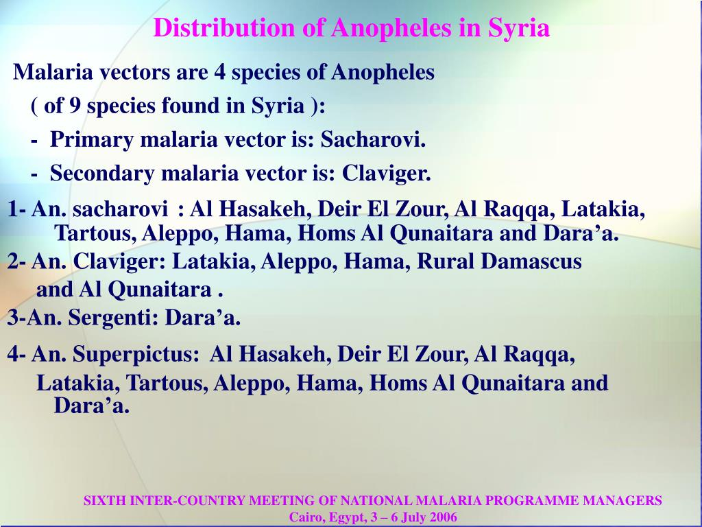 Distribution of Anopheles in Syria