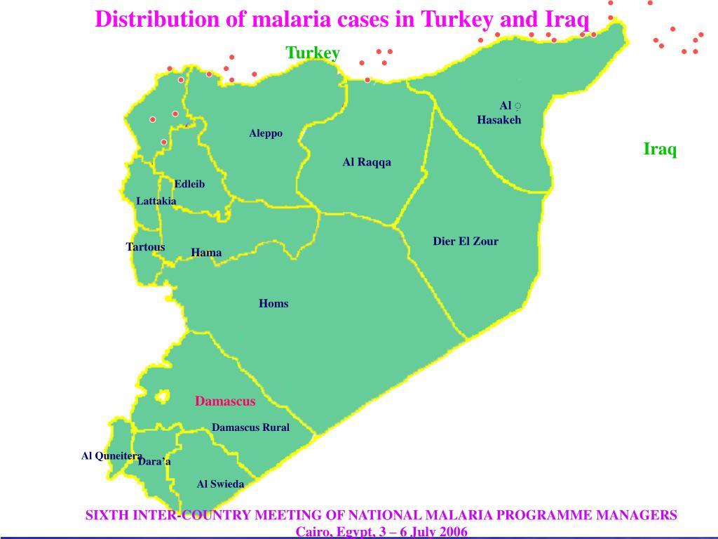 Distribution of malaria cases in Turkey and Iraq