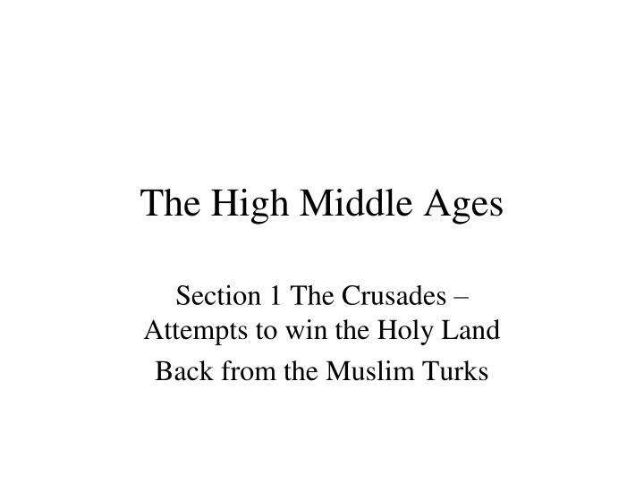 the high middle ages n.