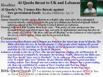 al qaeda threat to uk and lebanon