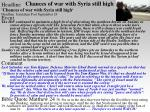 chances of war with syria still high