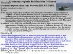 germany reports incidents in lebanon