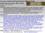 israel sent secret peace offer to syria