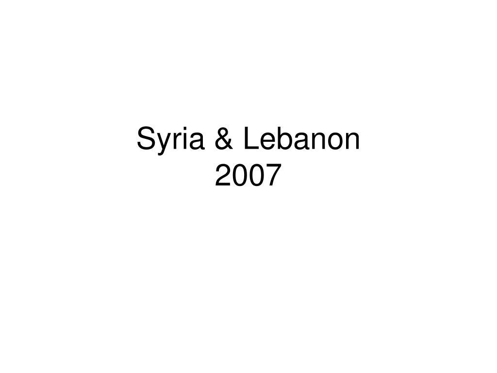 syria lebanon 2007 l.