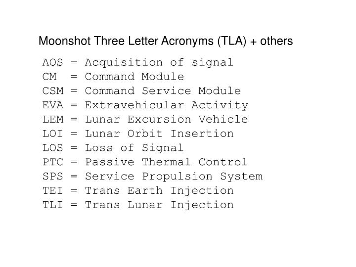 Moonshot Three Letter Acronyms (TLA) + others