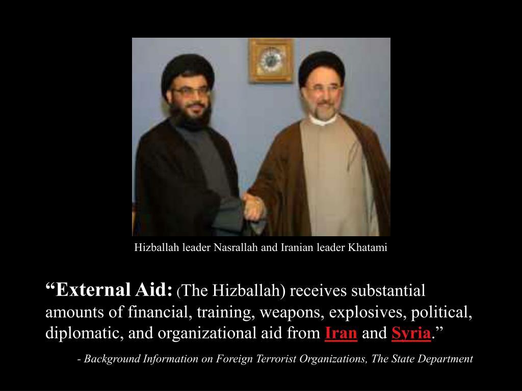 Hizballah leader Nasrallah and Iranian leader Khatami