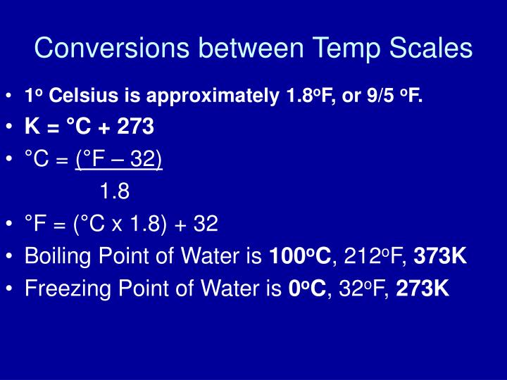 Conversions between Temp Scales