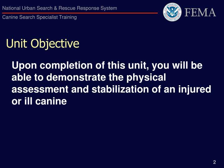 Unit objective