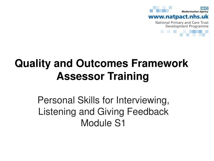 personal skills for interviewing listening and giving feedback module s1 n.