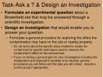 task ask a design an investigation