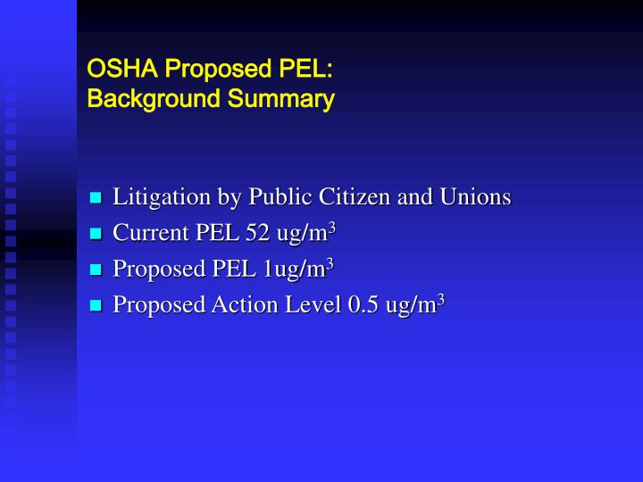 Osha proposed pel background summary