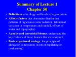 summary of lecture 1 chapter 50