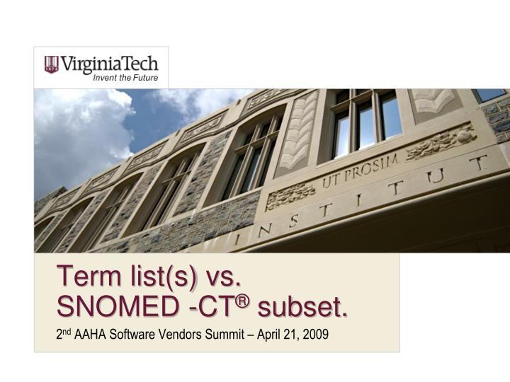 term list s vs snomed ct subset n.