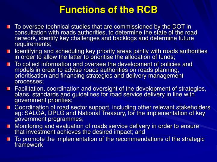 Functions of the RCB