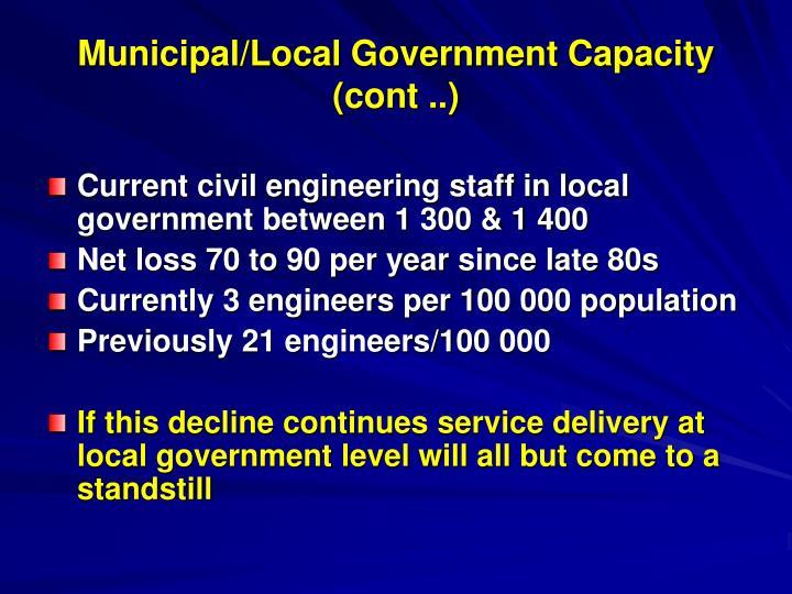 Municipal/Local Government Capacity (cont ..)