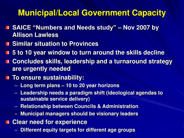Municipal/Local Government Capacity
