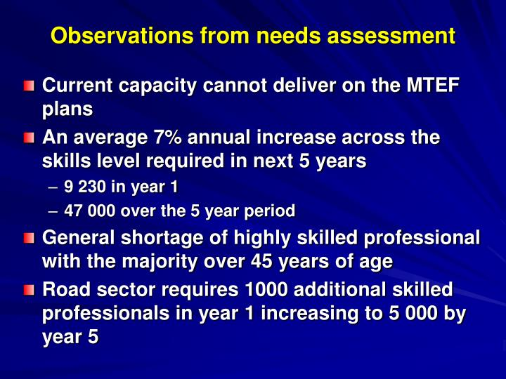 Observations from needs assessment