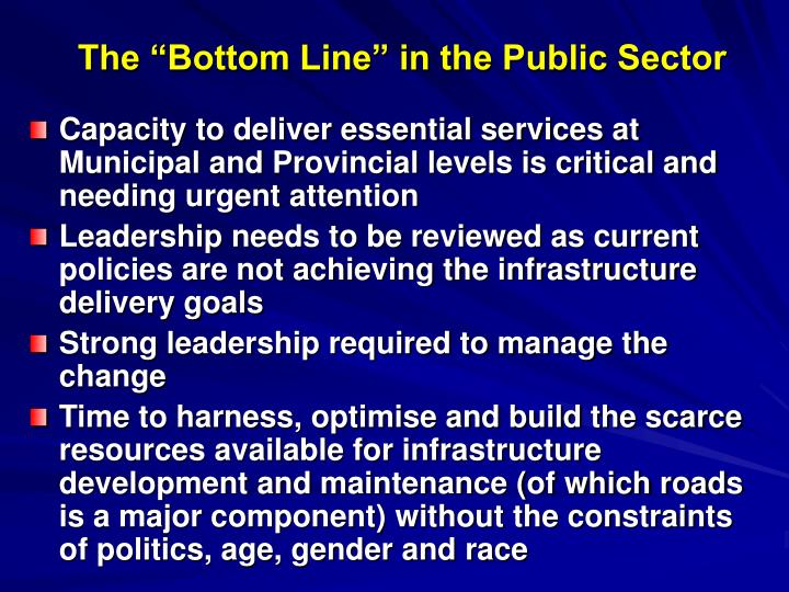 """The """"Bottom Line"""" in the Public Sector"""