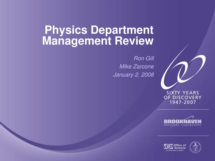 physics department management review n.