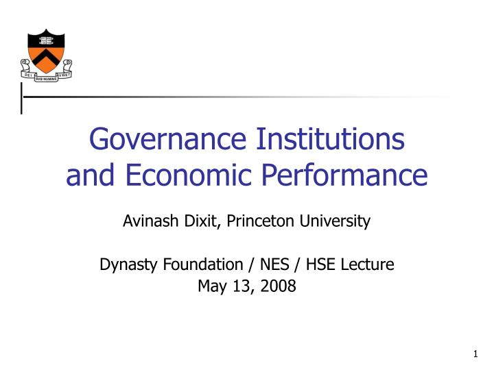 governance institutions and economic performance n.