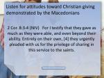 listen for attitudes toward christian giving demonstrated by the macedonians