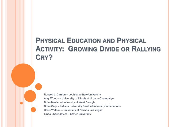 physical education and physical activity growing divide or rallying cry n.