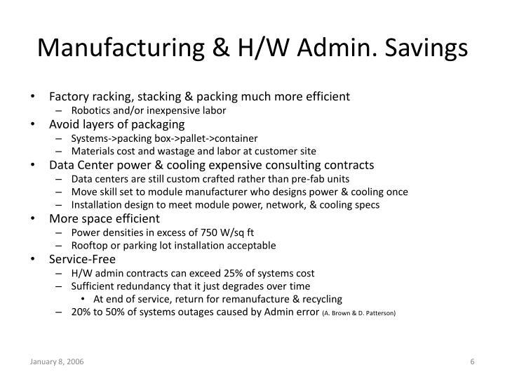 Manufacturing & H/W Admin. Savings
