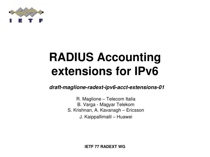radius accounting extensions for ipv6 n.