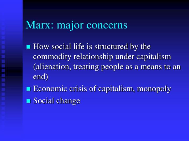 Marx: major concerns