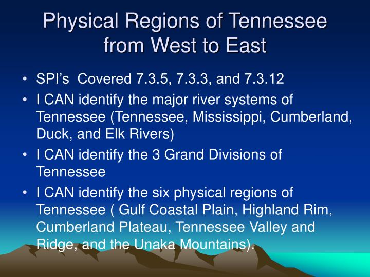 physical regions of tennessee from west to east n.