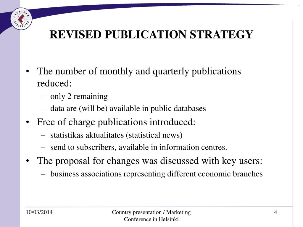 REVISED PUBLICATION STRATEGY