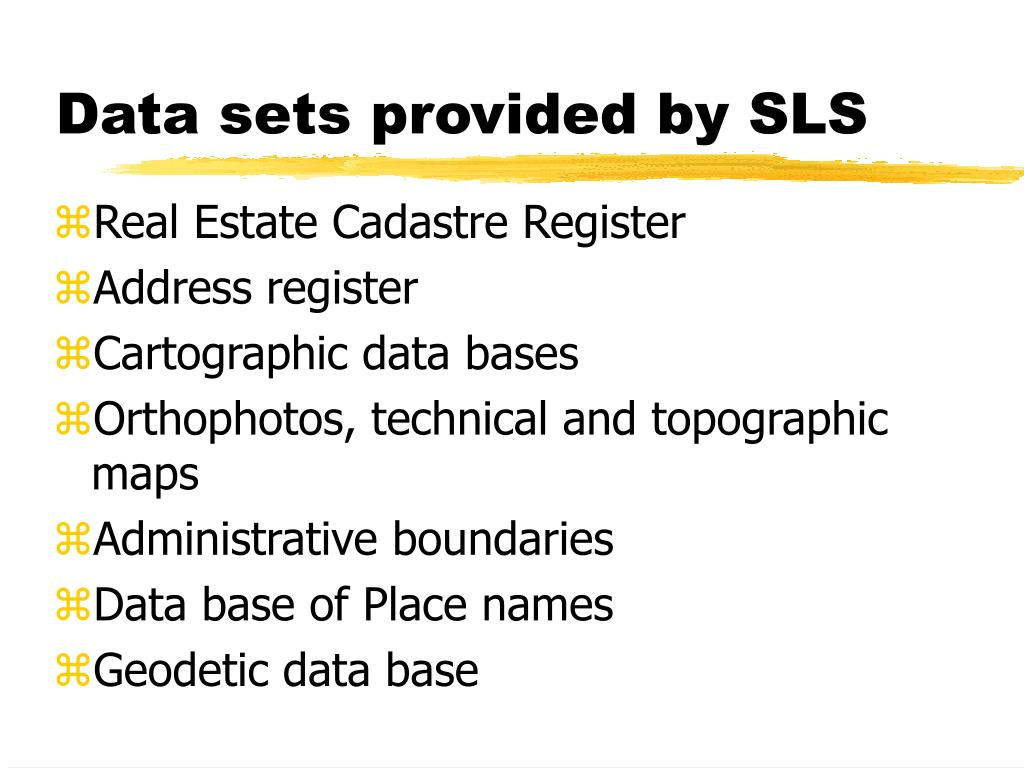 Data sets provided by SLS