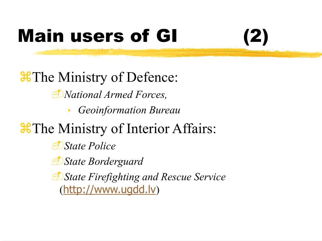 Main users of GI(2)