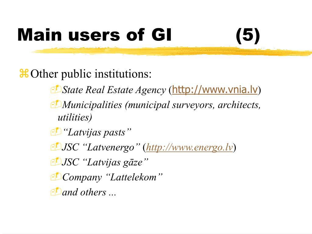 Main users of GI(5)