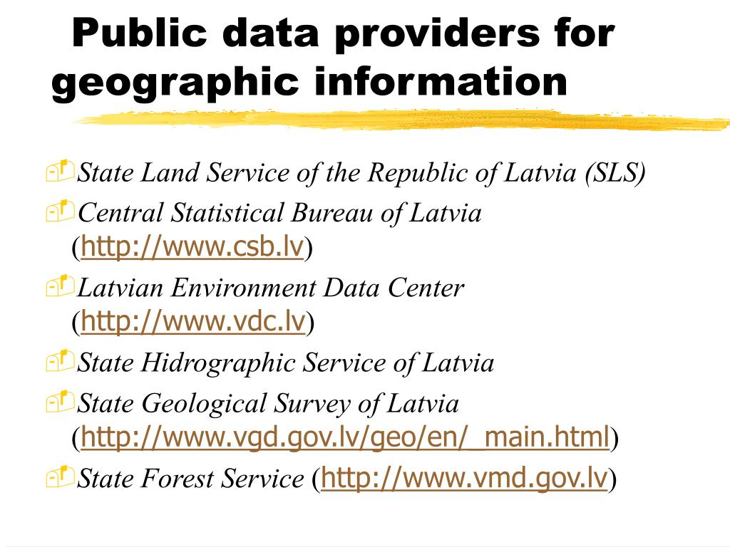 Public data providers for geographic information