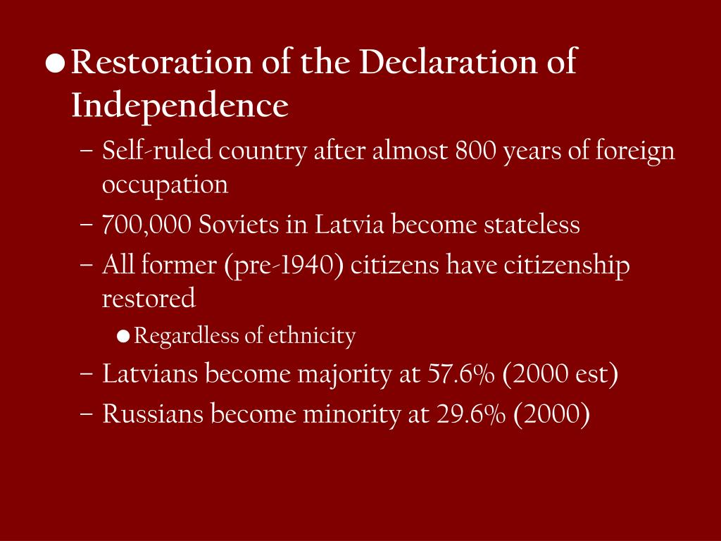 Restoration of the Declaration of Independence