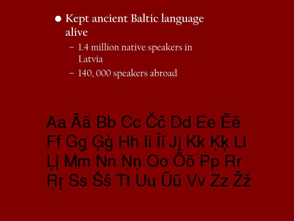 Kept ancient Baltic language alive