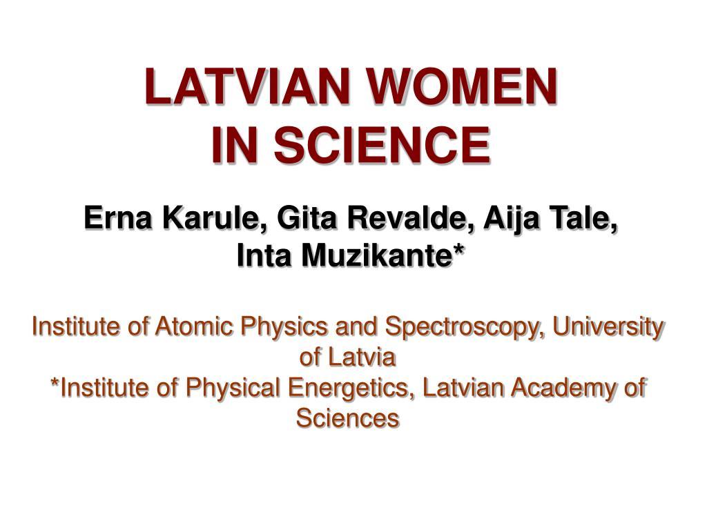 latvian women in science l.