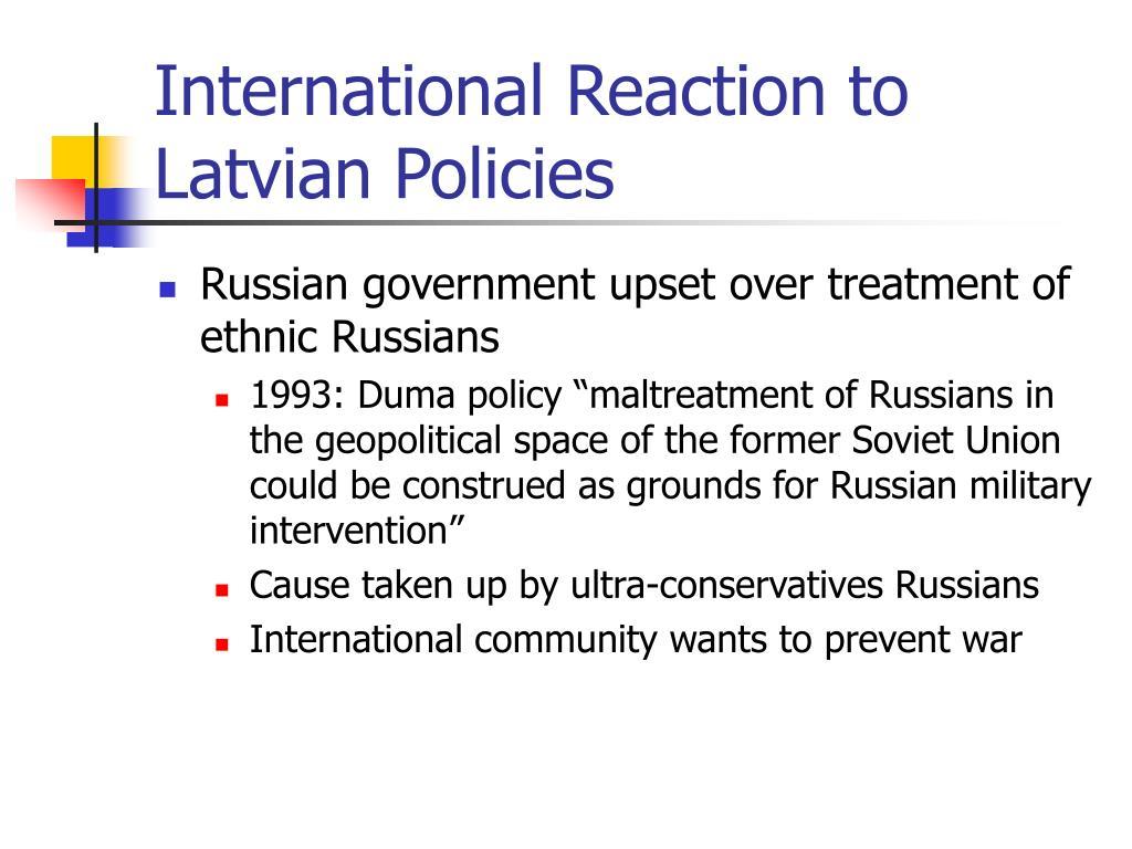 International Reaction to Latvian Policies